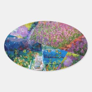 Flowers in Monet's garden are unique Oval Sticker