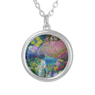Flowers in Monet's garden are unique Silver Plated Necklace