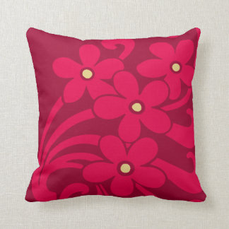 Flowers in Raspberry Color American MoJo Pillows