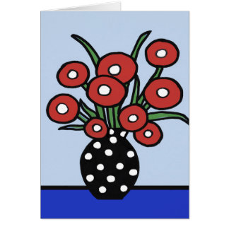 Flowers In Red Note Card