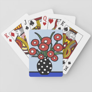 Flowers In Red Playing Cards