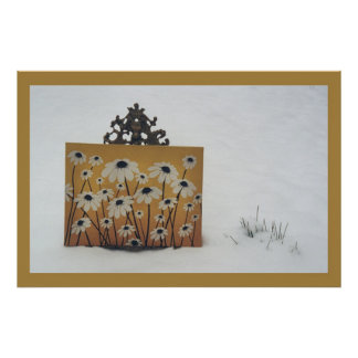 Flowers in Snow Poster
