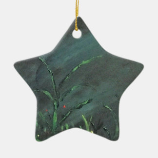 Flowers in the dark ceramic star ornament