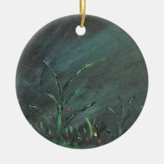 Flowers in the dark round ceramic ornament