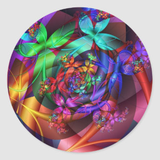 Flowers in the Sky Classic Round Sticker