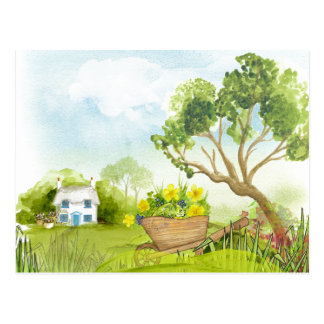 Flowers in the Wheelbarrow Landscape Postcard