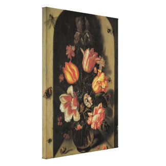 Flowers in Vase, Vintage Baroque Floral Still Life Gallery Wrapped Canvas