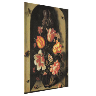 Flowers in Vase, Vintage Baroque Floral Still Life Canvas Print