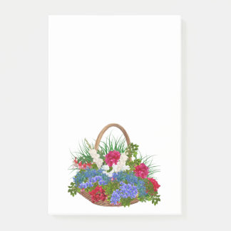 Flowers In Wicker Basket White Post-It Notes