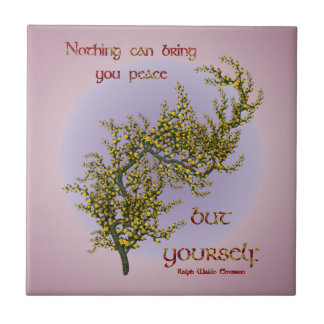 Flowers Inner Peace Inspirational Quote Tile