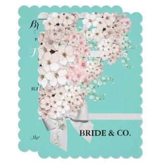Flowers & Lattice Teal Blue Tiffany Party Card