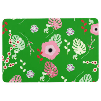 Flowers, leaves and little pelicans floor mat