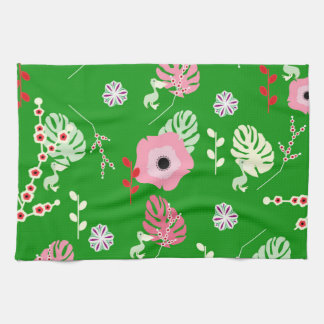 Flowers, leaves and little pelicans kitchen towel