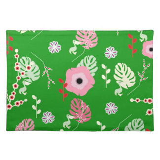 Flowers, leaves and little pelicans placemat