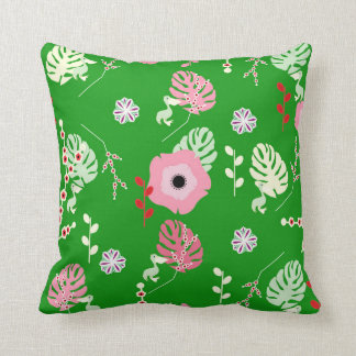 Flowers, leaves and little pelicans throw pillow