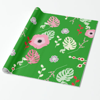 Flowers, leaves and little pelicans wrapping paper