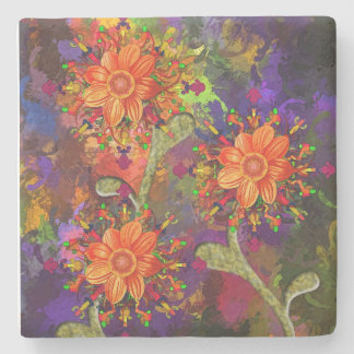 Flowers LimEstone coaster