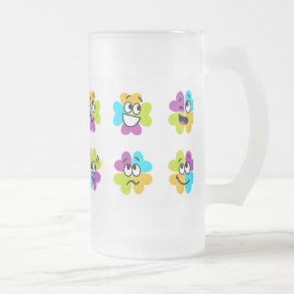 Flowers Making Funny Faces Glass Mug