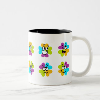 Flowers Making Funny Faces Two-Tone Mug