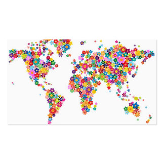 Flowers Map of the World Map Business Card