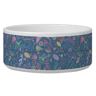 Flowers multicoloured smooth watercolors dog water bowls