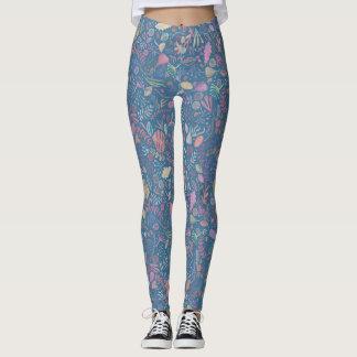 Flowers multicoloured smooth watercolors leggings