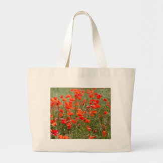 Flowers of common poppy in a field. large tote bag