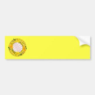 Flowers of Orange & Yellow Frame on Yellow Bumper Sticker