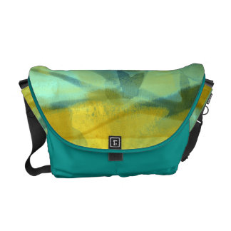 Flowers of silk in yellow and turquoise messenger bag
