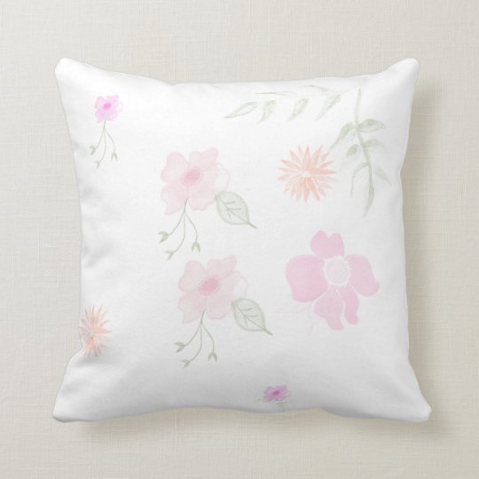 flowers of watercolors throw pillow