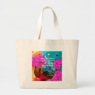 Flowers old bridge and good message large tote bag