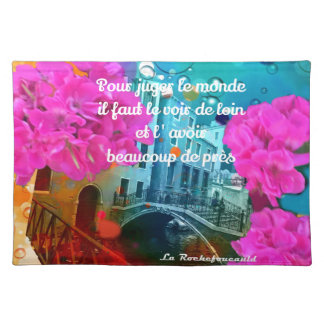Flowers old bridge and good message place mat