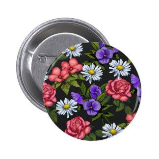 Flowers on Black Background, Original Art 2 Inch Round Button