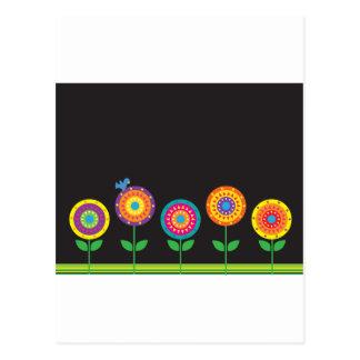 Flowers on Black Postcard