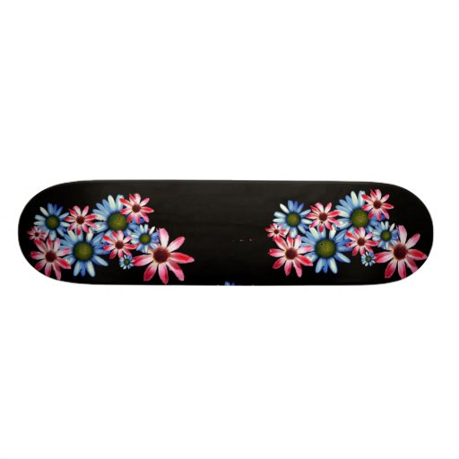 Flowers on Black Skateboard