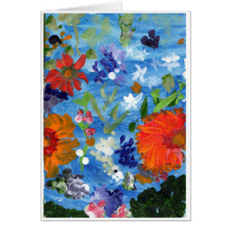 Flowers on Blue Background note card