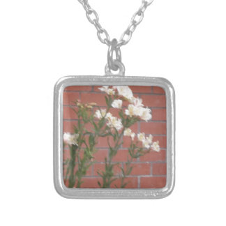 Flowers on Brick Silver Plated Necklace