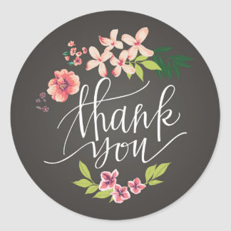 Flowers on Chalkboard Thank You Sticker