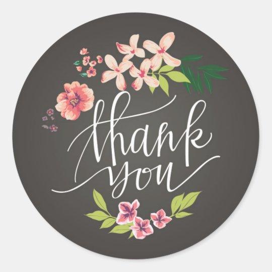 Flowers On Chalkboard Thank You Sticker Zazzle Ca
