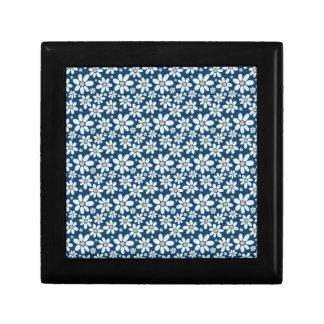 Flowers on dark blue gift box