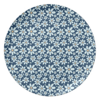 Flowers on dark blue plate