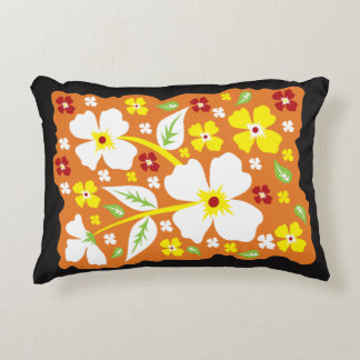 Flowers on Orange Accent Pillow