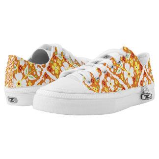 Flowers on Orange Low-Top Sneakers