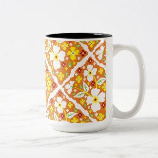 Flowers on Orange Two-Tone Coffee Mug