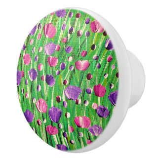 Flowers On Parade Ceramic Knob