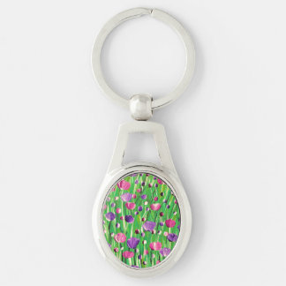 Flowers On Parade Silver-Colored Oval Keychain