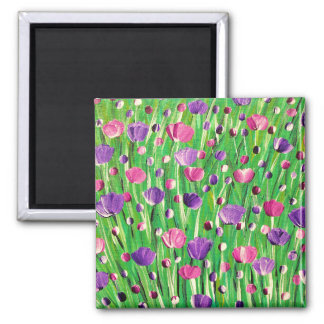 Flowers On Parade Square Magnet