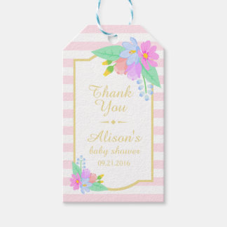 Flowers On Pink Baby Shower Thank You Gift Tag