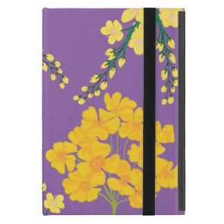 Flowers on Purple Floor Cover For iPad Mini