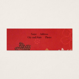 Flowers on Red Mini Business Card